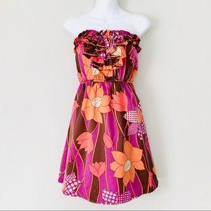 Judith March Silky Retro Strapless Ruffle Dress